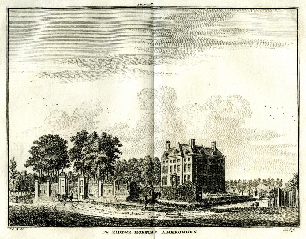 Kasteel Amerongen in Amerongen. Tekening Jan de Beijer, gravure Hendrik Spilman (Uit: Het Verheerlykt Nederland, Isaac Tirion, 1745/1774)